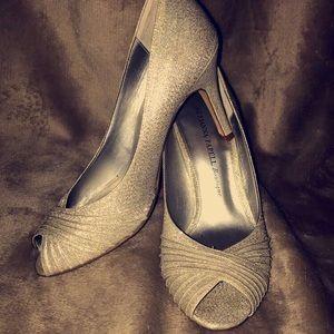Silver glitter heels.